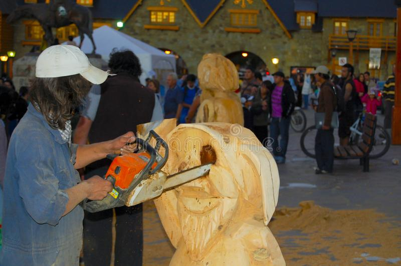 Chainsaw Wood Carving imagens de stock