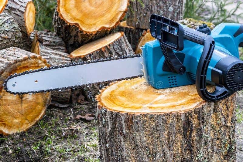 chainsaw Zakończenie woodcutter piłowania łańcuchu saw Zamyka w górę fachowej piły łańcuchowej ostrza rozcięcia beli drewno Piła  obraz royalty free