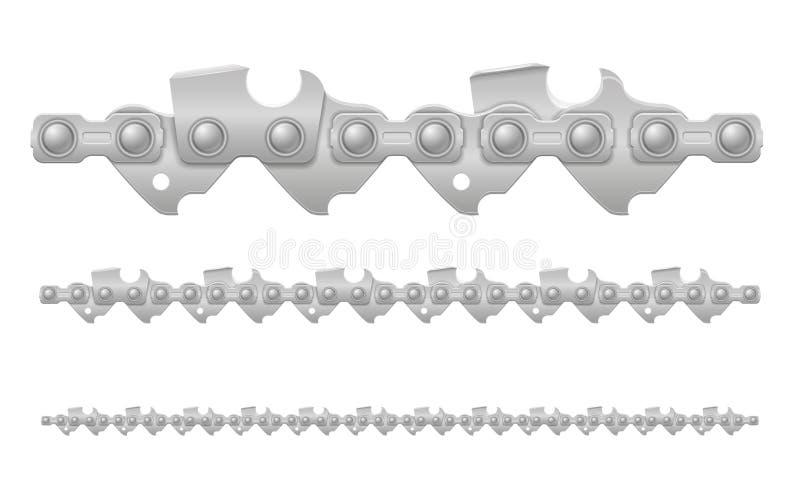 Chainsawkedjemetall och skarpt vässad vektorillustration stock illustrationer