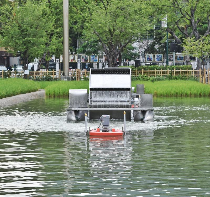 Chaipattana low speed surface aerator. `Chaipattana low speed surface aerator is the invention by King Bhummibol of Thailand to solve water pollution by using royalty free stock image