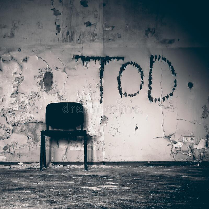 Chair in abandoned room royalty free stock photos