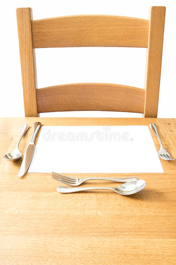 Free Chair And Place Setting On A Wooden Table Stock Images - 75181894