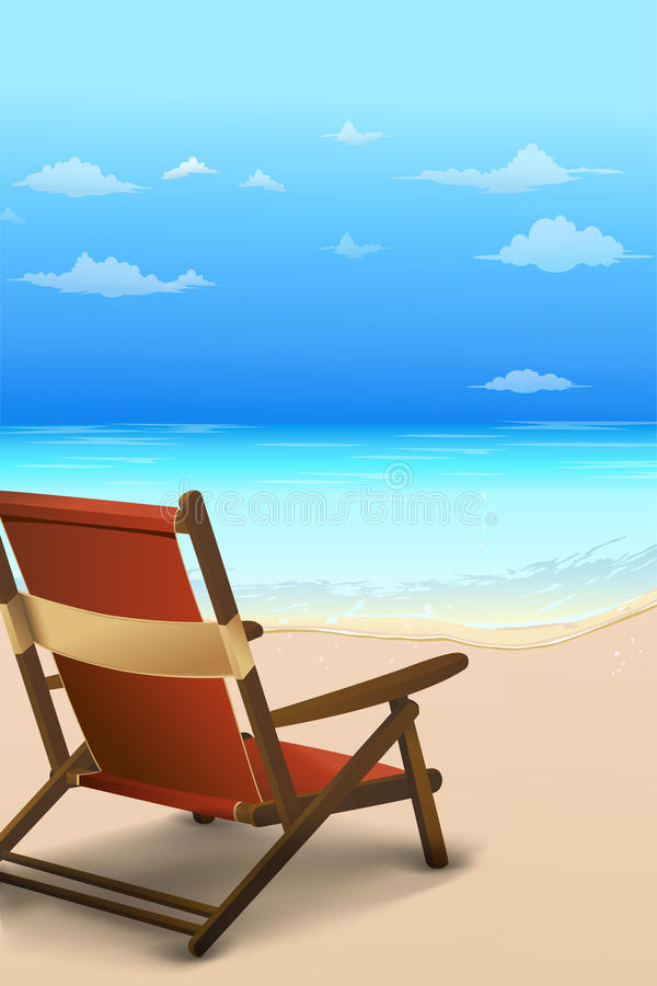 Download Chair by the beach stock illustration. Image of card - 18443684