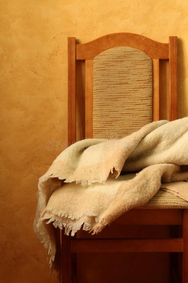 Chair With A Blanket Royalty Free Stock Photos