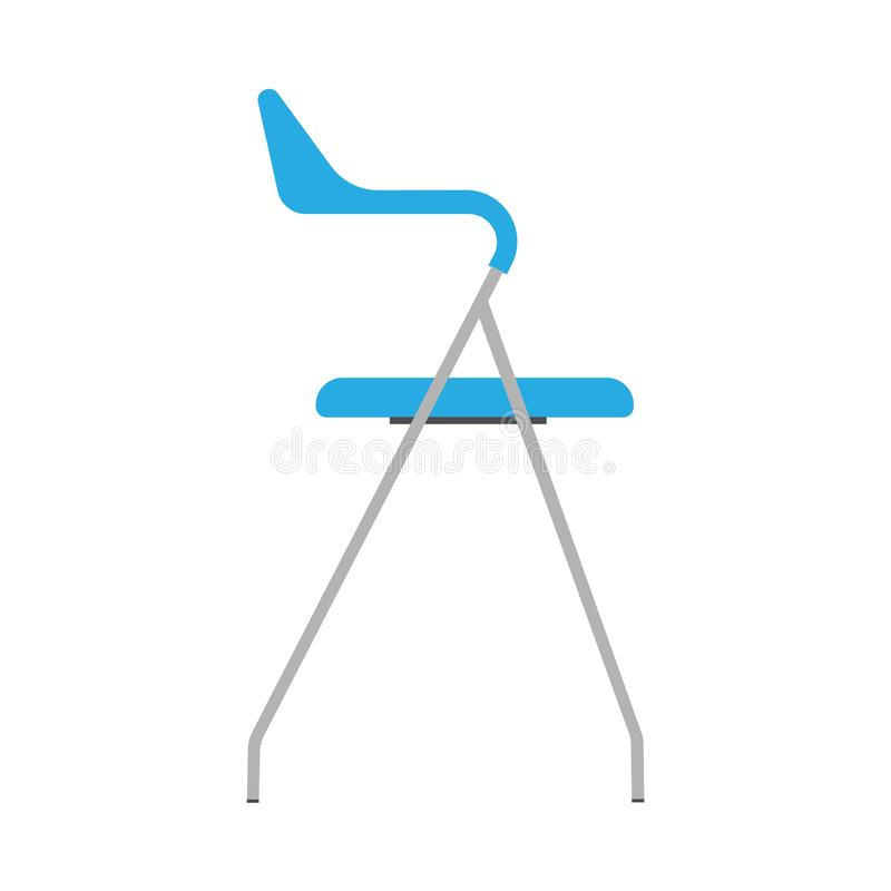 Chair blue side view wooden vector icon. Office comfortable symbol relaxation furniture equipment vector illustration