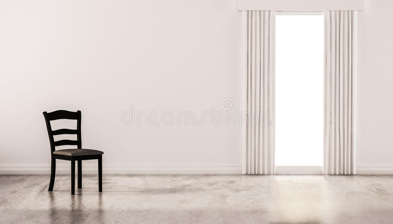 A chair on concrete polished floor with white wall and isolated window, 3d rendered. A chair on concrete polished floor with white wall and isolated window. 3d vector illustration