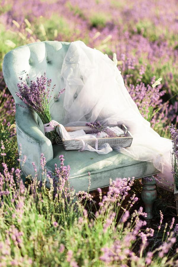 Chair decoration in purpur lavender field on golden sunset royalty free stock images