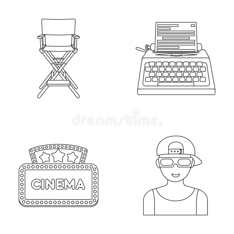 Chair of the director, typewriter, cinematographic signboard, film-man. Films and cinema set collection icons in outline. Style vector symbol stock illustration royalty free illustration