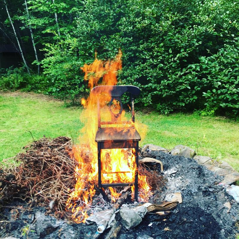 Download Chair On Fire Stock Photo. Image Of Fire, Chair, Yard   64586956