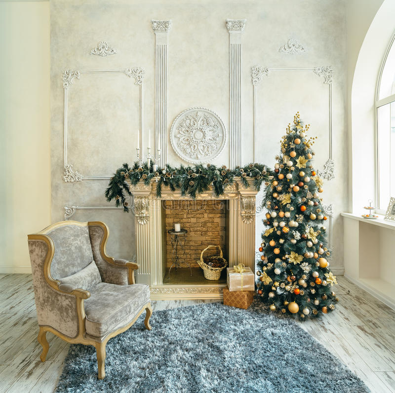 Chair Fireplace Christmas tree royalty free stock images