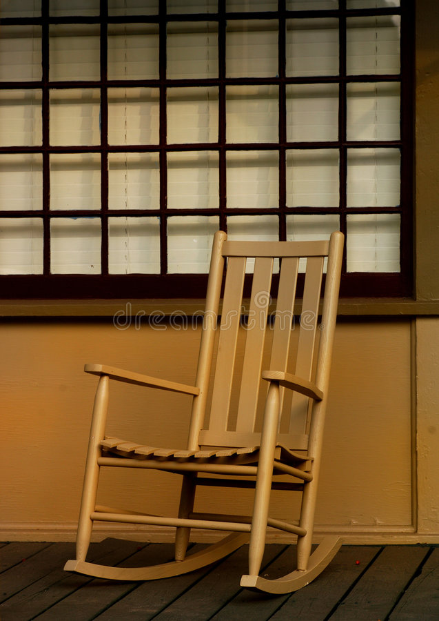 Chair on Front porch stock photo