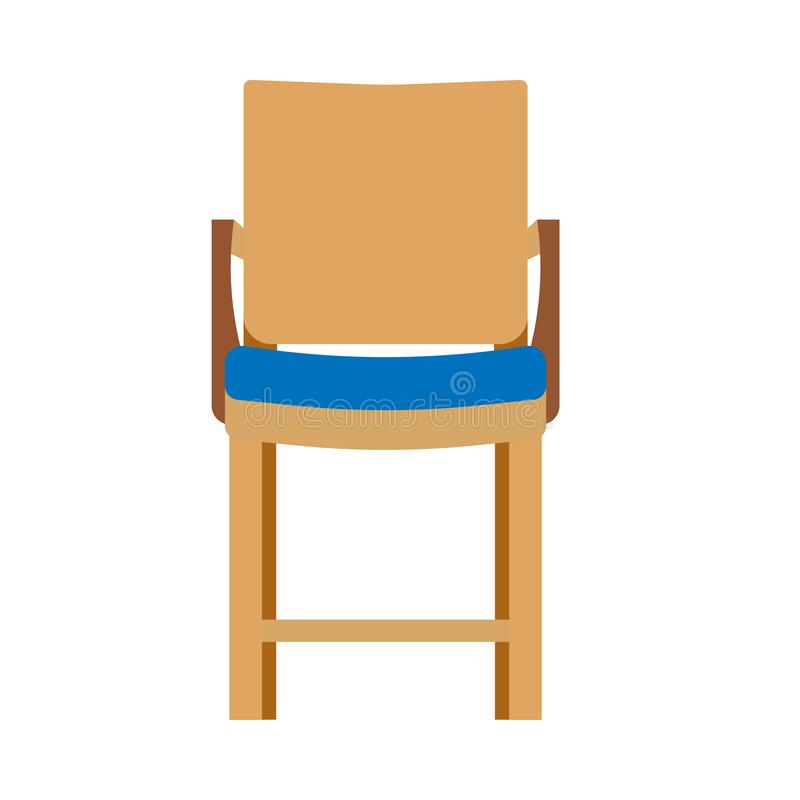 Chair front view illustration furniture vector isolated icon. Interior seat home design armchair style. Room flat element vector illustration