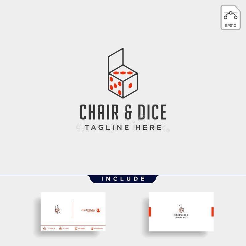 Chair game logo design vector icon illustration icon isolated. Chair game logo design vector icon illustration icon element isolated, dice, home, furniture stock illustration