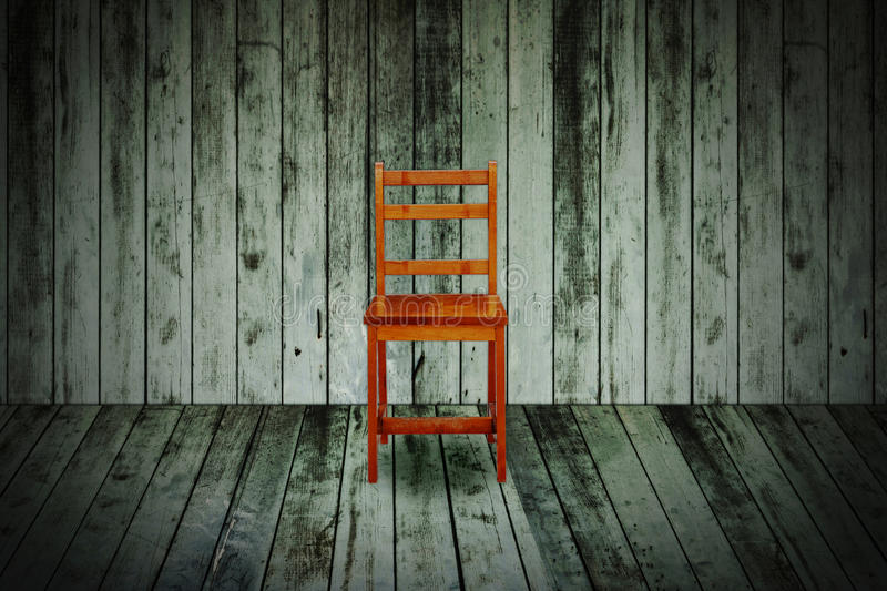 Chair in grunge wooden room vector illustration
