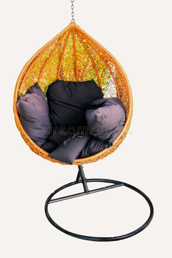 A chair for hanging in the garden on white background royalty free stock photos