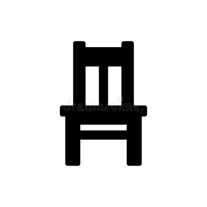 Chair Icon. Black chair icon isolated on white stock illustration
