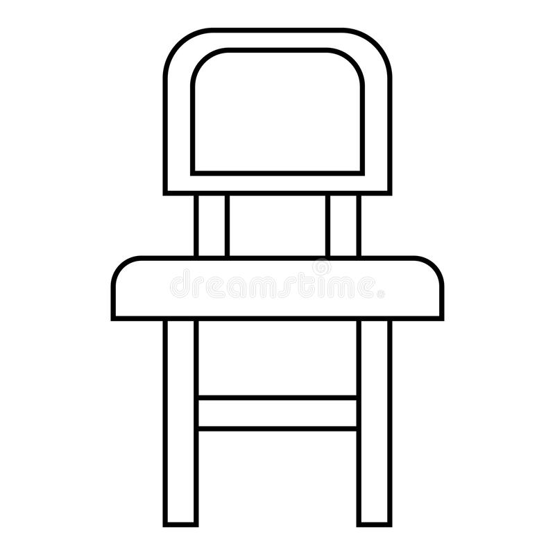 Chair icon, outline style stock illustration