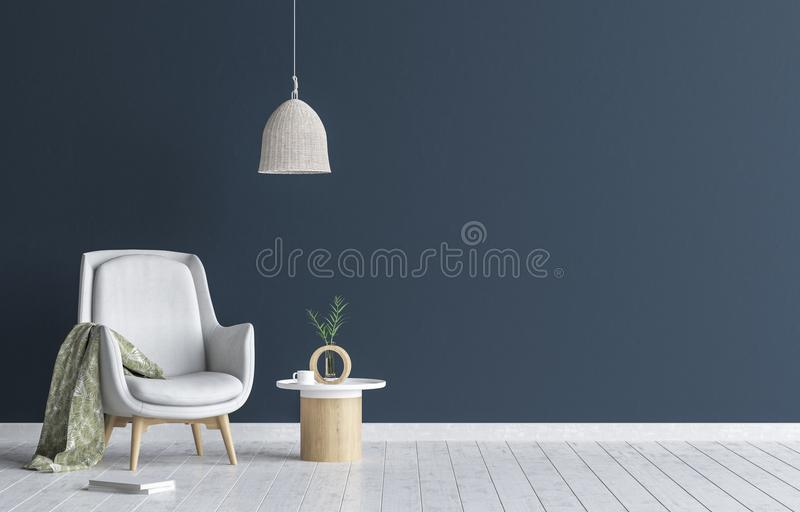 Chair with lamp and coffee table in living room interior, dark blue wall mock up background. 3D render