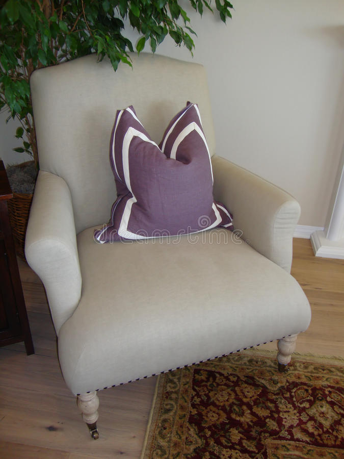 Chair With Lavender Pillow Royalty Free Stock Photography