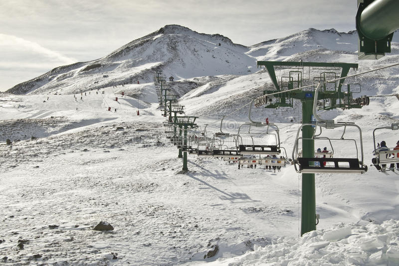 Chair lift. In a ski resort (Formigal, Huesca, Spain royalty free stock photos