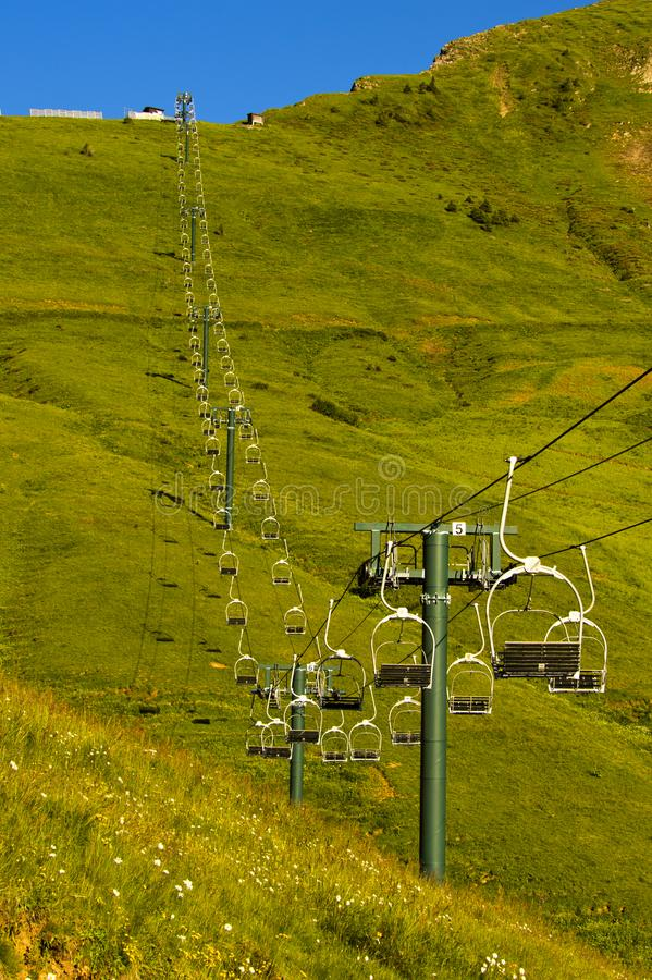 Free Chair Lift At Mont Joly In Summer Stock Photography - 130674762