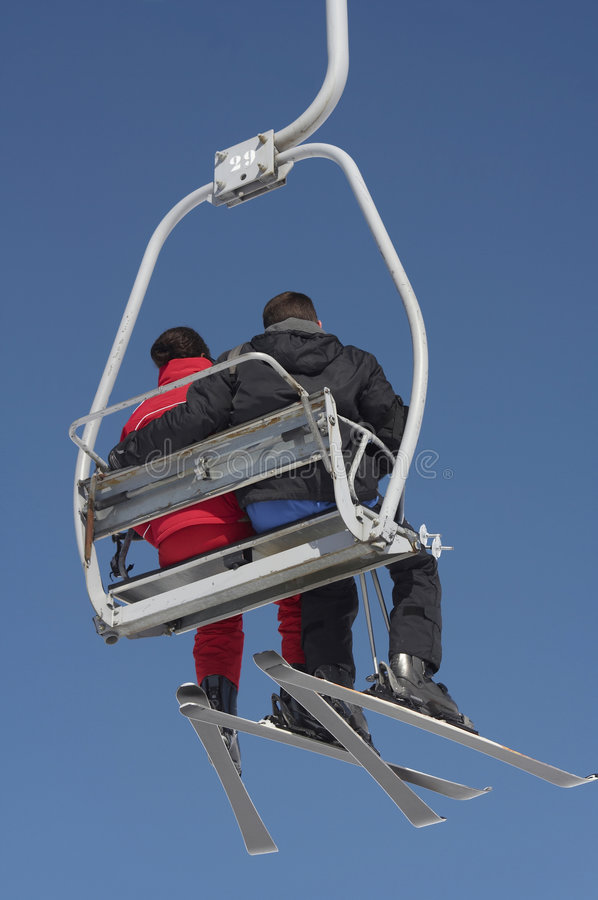 Download Chair lift couple stock image. Image of couple, seat, blue - 631829