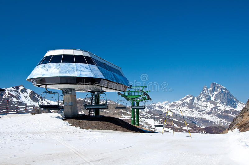 Chair lift in a ski resort. (Formigal, Huesca, Spain royalty free stock images