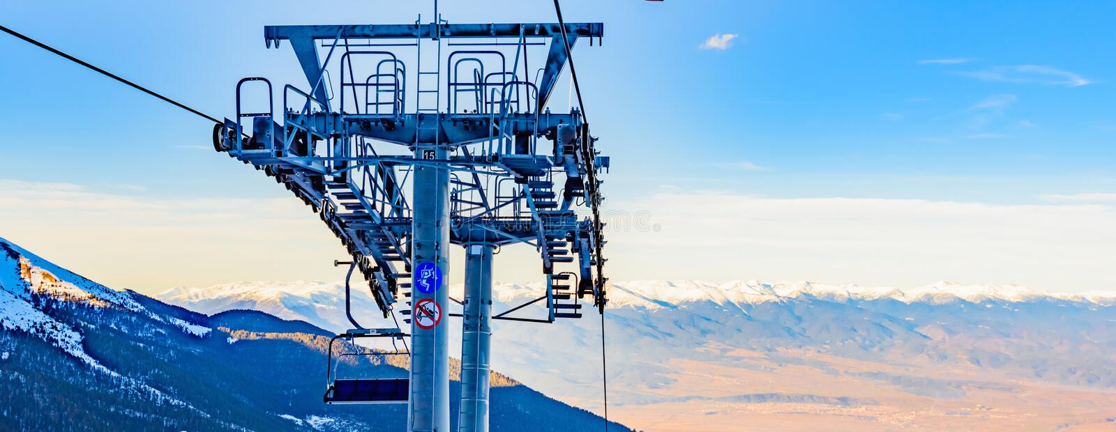 Chair lift for skiing. In the mountains in winter stock images