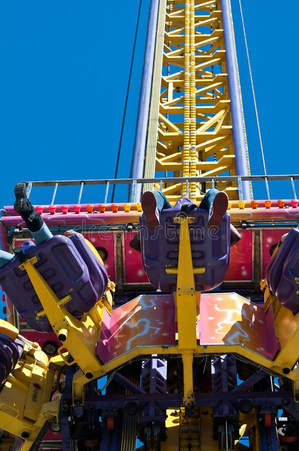 Chair Lift State Fair. Chair lift ride up and freefall drop at the State Fair stock photo