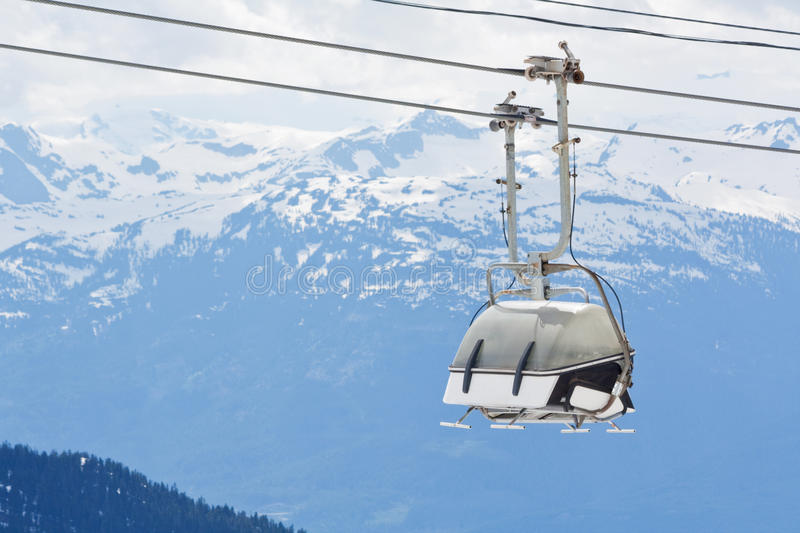 Chair lift at Whistler Peak British Columbia. Chair lift for the ski runs at Whistler Peak in British Columbia, Canada stock photography