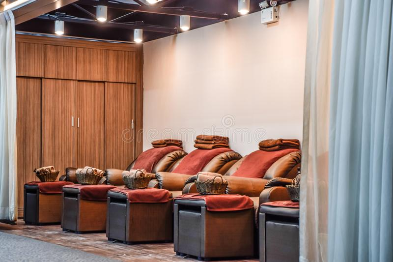 Chair in the massage shop. In airport at Bangkok, Thailland asia automatic automobile background body building business chairs championship color colorful royalty free stock photos