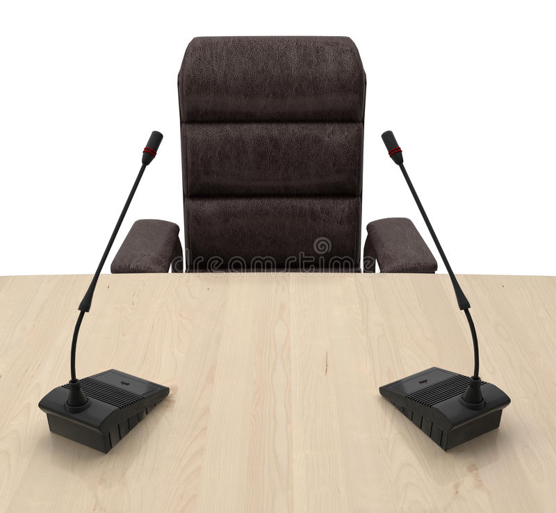 Chair with microphone on the table vector illustration