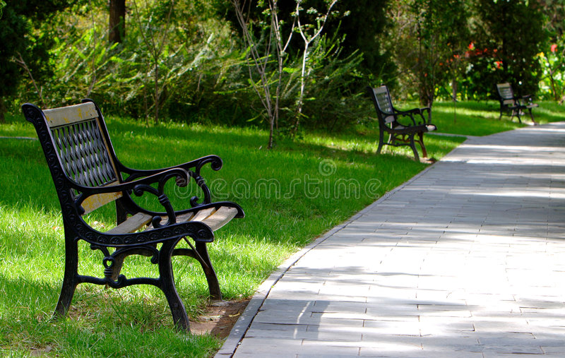 Chair in the park stock photo