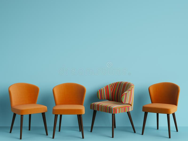 A chair with pattern colorful stripes among simple orange chairs on blue backgrond with copy space. Concept of minimalism. Digital illustration.3d rendering royalty free illustration