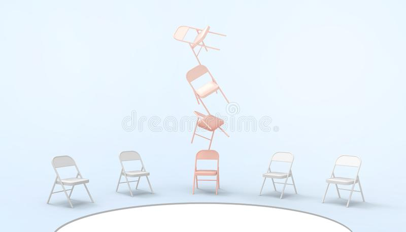 Chair Pink and Differentiate Ideas outside minimal of Business leader concept and Modern Art on pastel Blue background stock illustration