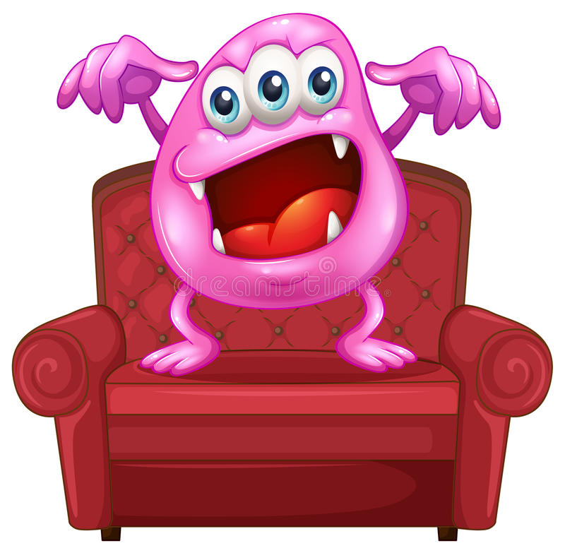 A Chair With A Pink Monster Stock Vector