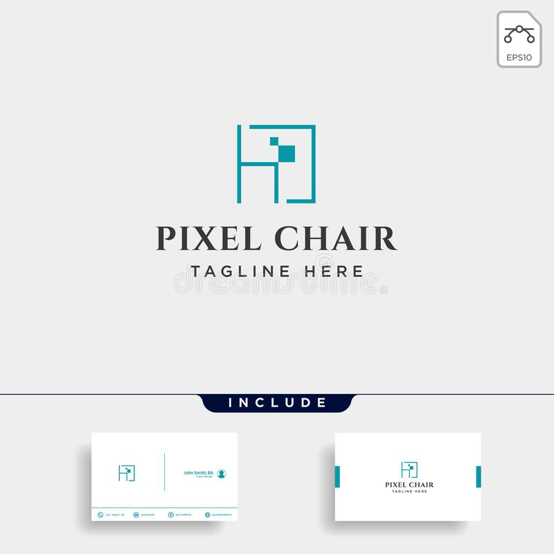 chair pixel logo design concept for technology company vector isolated royalty free illustration