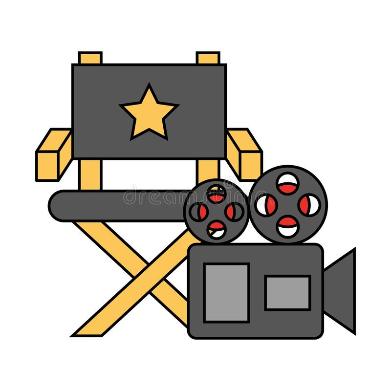 Chair and projector camera cinema movie. Vector illustration vector illustration