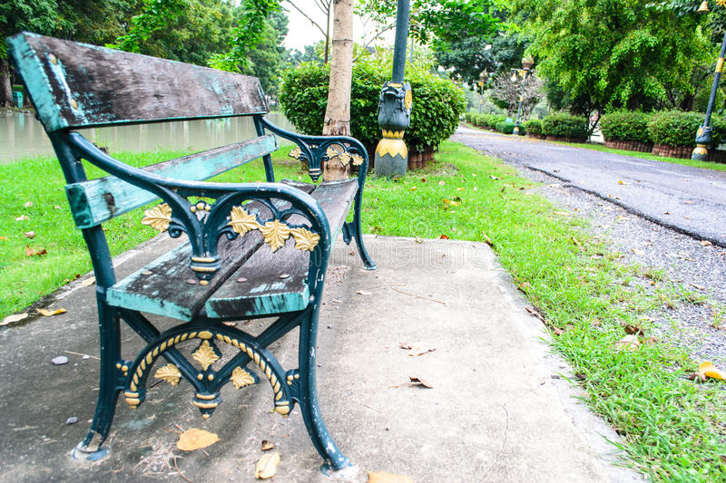 Chair and road at park royalty free stock images