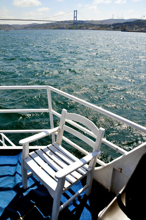 Chair on a sailing boat. royalty free stock photo