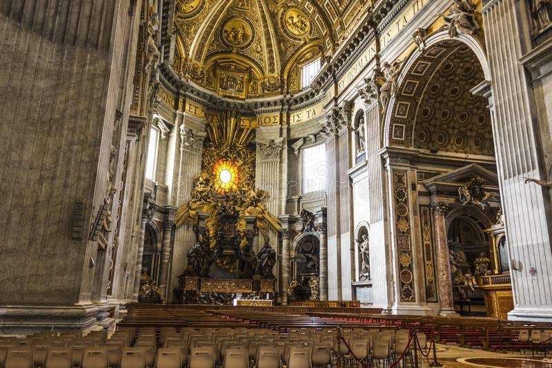 The Chair of Saint Peter in St Peter`s Basilica, Vatican. Vatican - August 24, 2018: The Chair of Saint Peter in St Peter`s Basilica, Vatican royalty free stock photography
