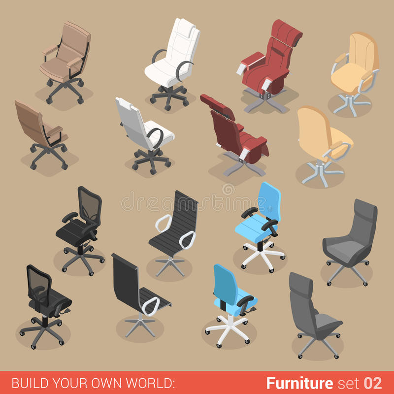 Chair seat armchair recliner flat vector isometric furniture. Office furniture set 02 chair seat armchair stool recliner lounge element flat 3d isometry royalty free illustration