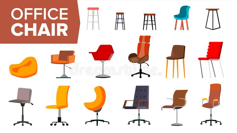 Chair Set Vector. Office Creative Modern Desk Chairs. Interior Seat Design Element. Flat Isolated Furniture Illustration royalty free illustration