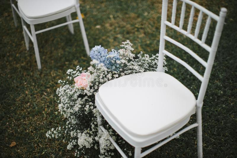 Chair set for wedding or another catered event dinner. wedding chair decoration. Chair set for wedding or another catered event dinner.  wedding chair decoration royalty free stock images