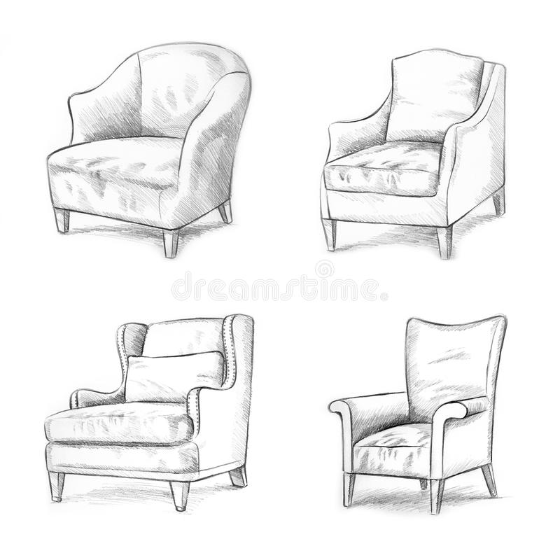 Chair sketching stock illustration