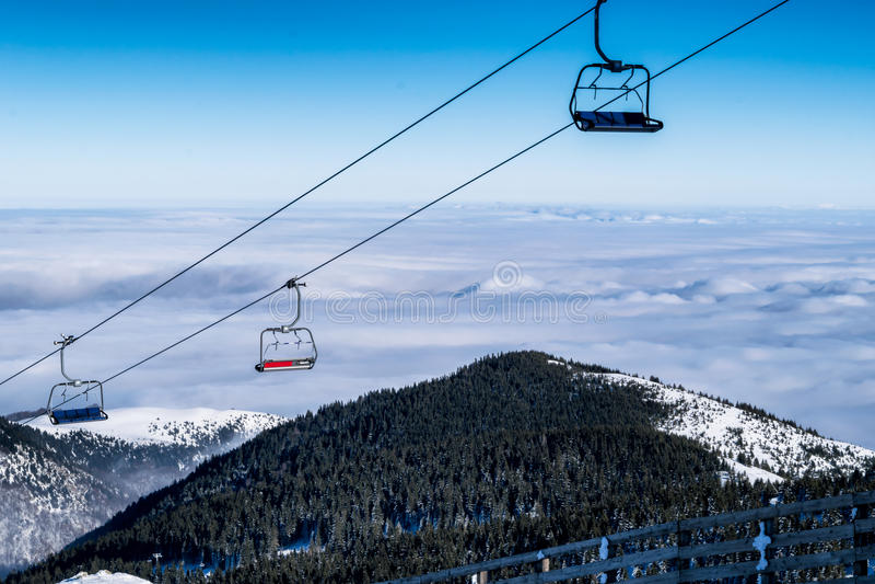 Chair ski lift. Empty chair ski lift, mountain Kopaonik, Serbia stock image
