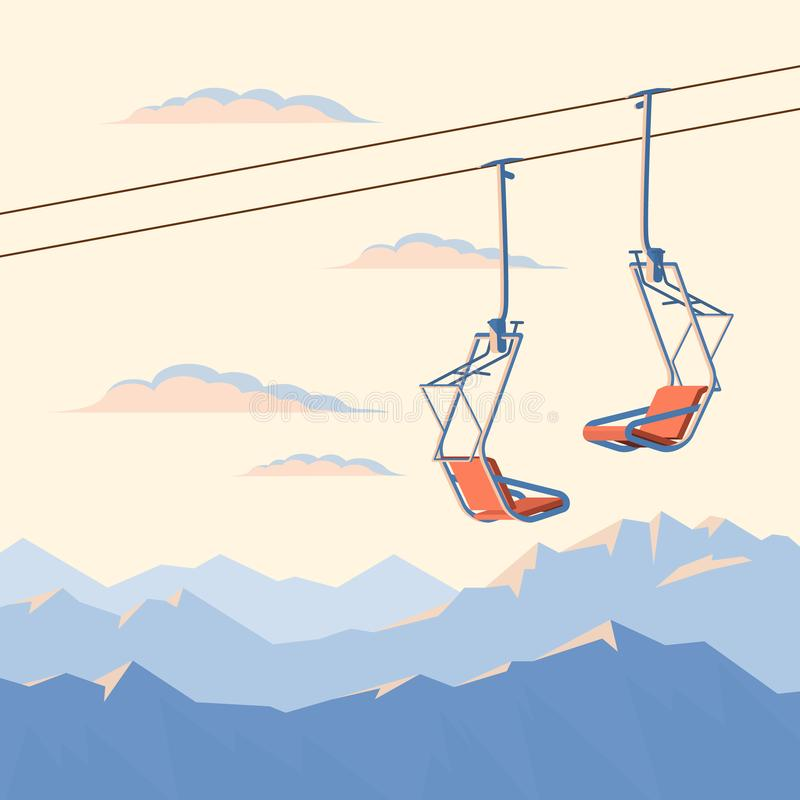 Chair ski lift for mountain skiers and snowboarders moves in the air on a rope on the background of winter snow capped mountains royalty free illustration