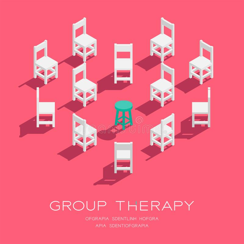 Chair and stool 3D isometric heart shape pattern, Group therapy concept poster and social banner vertical design illustration vector illustration