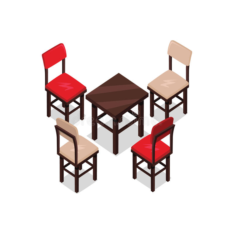Chair and table isometric design stock vector image for Table design vector