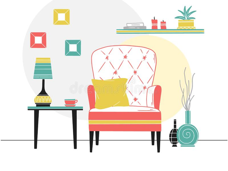 Chair, table with mug. Shelf with books and plants. Hand drawn vector illustration stock illustration